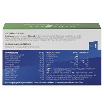 Brennnessel-Kürbiskern MensSana | 60 gut verträgliche Kapseln mit Extrakten von der Brennnesselwurz, Kürbiskern, Granatapfel, Citrus, Sojabohnen, Tagetes und Tomate sowie Beta-Carotin, Vitamine A,C,D3,E, Selen + Zink. Nahrungsergänzung made in Germany -