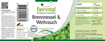 Brennnessel und Weihrauch (mind. 65% Boswelliasäuren) plus Yucca (1% Saponine) 90 Kapseln, vegetarisch -