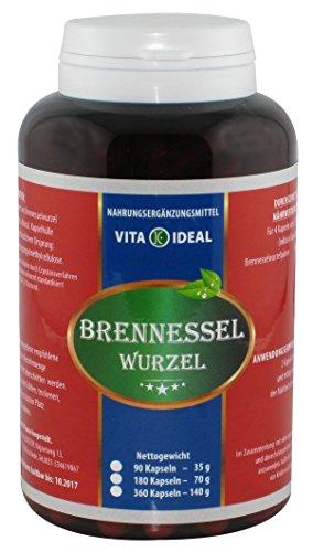 Brennessel Wurzel 180 Kapseln je 300mg rein natürliches Pulver, ohne Zusatzstoffe - von VitaIdeal -